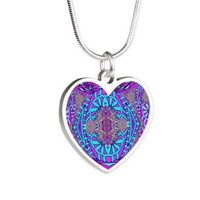 light blue and purple mandala collage Necklaces