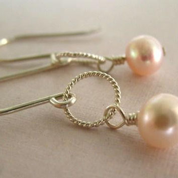 Blush Pink Pearl Earrings, Sterling Silver Jewelry, Petite Earrings