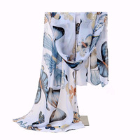 New Design Colorful Fashion Size160*45cms Butterfly Animal Pattern Printing Women Scarf Shawls Chiffon Femme Girls Echarpe Cape