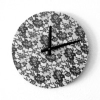 Modern Wall Clock, Housewares, Home and Living, Black Lace, Kitchen Clock, Unique Clock, Wall Clock, Unique Gift
