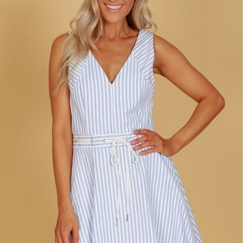 Rope Tie Striped Dress Light Blue