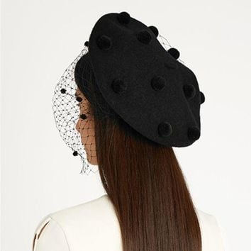 Autumn Winter Ultra Cool Fashion Hairball Gauze Beret Cap Women Wool Hat