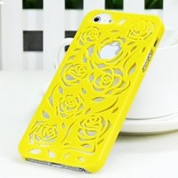 MagicPieces Cut Out Rose Flower Hard Protective Snap On Candy Color Case for iPhone 5 Yellow