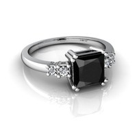 14kt White Gold Black Onyx and Diamond 6mm Square Art Deco Ring - Size 4