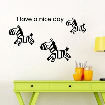 Cute Zebra Have a Nice Day Vinyl Wall Decal Home Decor Wall Sticker