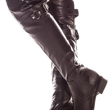 BLACK FAUX LEATHER DOUBLE BUCKLE KNEE HIGH BOOTS