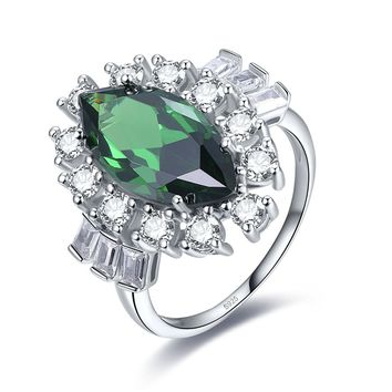 Merthus 6.5ct Green Emerald Marquise Halo Promise Ring 925 Sterling Silver