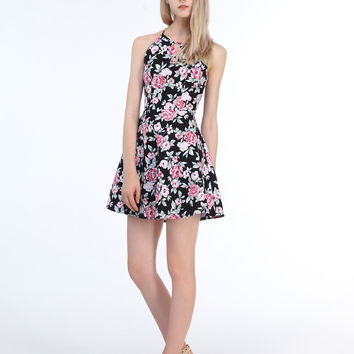 Black Halter Floral Print Cut Out Strap Detail Dress