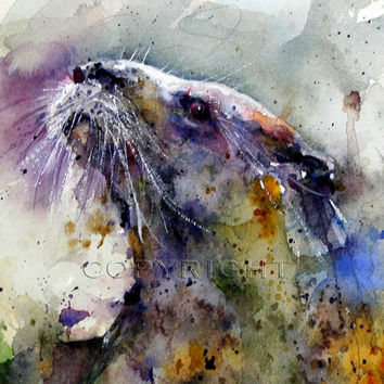 OTTER Watercolor Print from Painting by Dean Crouser