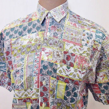 Vintage 80s Shirt Crazy Print Polka Dot Trippy Large