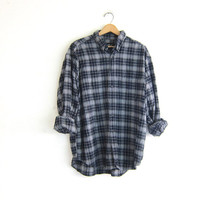 Vintage blue Plaid Eddie Bauer Flannel / Grunge Shirt / blue button up shirt / men's size XL