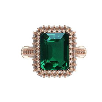 18K Rose Gold Emerald Engagement Ring Milgrain Pave Diamond all around Halo Emerald Ring Diana Ring Vintage Style Emerald May Birthstone