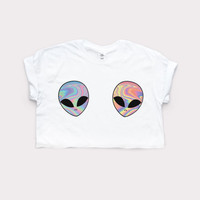 ALIEN CUTE CROP TOP Homies Retro Print Swag Tumblr Fashion Hipster 90s Girls Tee