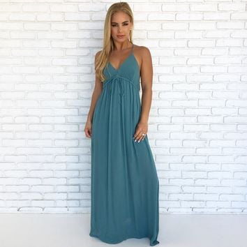 Suns Up Maxi Dress In Teal Blue