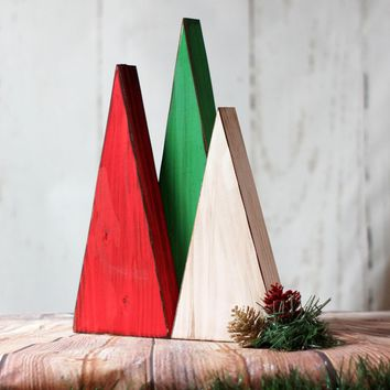 LARGE Red, White, Green Wooden Trees