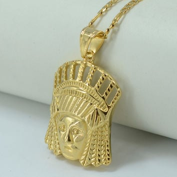 N70 Portrait of Indians Necklace for Women/Men - Gold Plated Indian Jewelry Punk Cool Necklaces Native American #000422