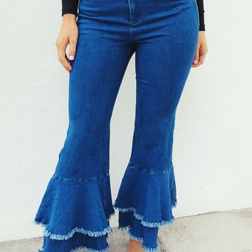 Stop and Flare Jeans: Denim