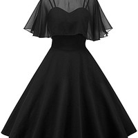 Women's Vintage Peter Pan Collar Pin Up Dress With Sheer Mesh Cape
