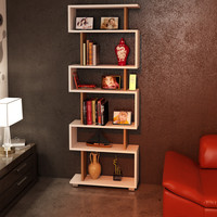 Bates White Six Shelf Modern Bookcase