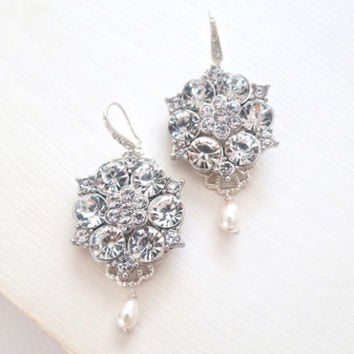 Statement Bridal Earrings, Art Deco Wedding Rhinestone Pearl Tear Drop, Chandelier