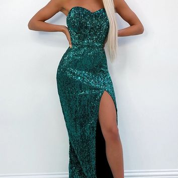 Get Up And Glow Emerald Green Sequin Strapless Sweetheart Neck High Slit Mermaid Maxi Dress