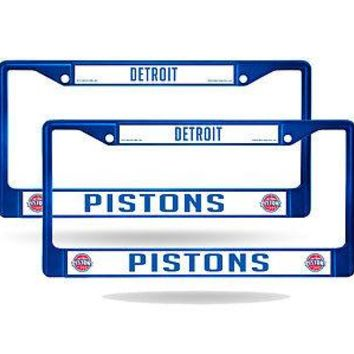 Detroit Pistons Blue Painted Chrome Metal (2) License Plate Frame Set
