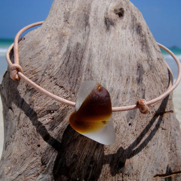 Hawaiian Extremely RARE Amber Brown and Clear Multi Bonfire Beach Glass on India Leather Cord Completely Adjustable & Stackable Bracelet