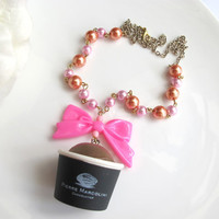 Rare Sweet Harajuku Style Kawaii Dessert Japan Pierre Marcolini Chocolatier Hot pink ribbon bow Pearls Necklace