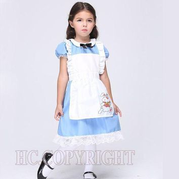 CREY6F Alice In Wonderland White Apron Blue Dress Lolita Dresses Girls Maid Cosplay Child Fantasia Carnival Costumes For Children's Day