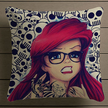 ariel little mermaid disney skull Square Pillow Case Custom Zippered Pillow Case one side and two side