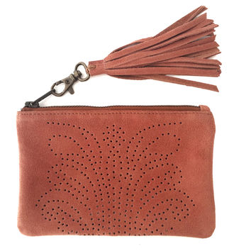 Sumitra tooled satchel melon suede