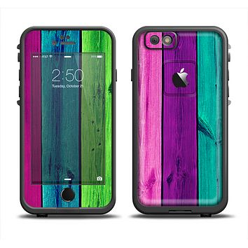 The Wide Neon Wood Planks Skin Set for the Apple iPhone 6 LifeProof Fre Case