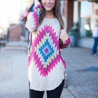 Aztec Or Bust Top, Taupe-Multi