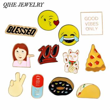 QIHE JEWELRY Cartoon Emoji Pizza Taco Donuts Food Cat Pins Brooches Badges Backpack For Bags Jeans Clothes  Decoration