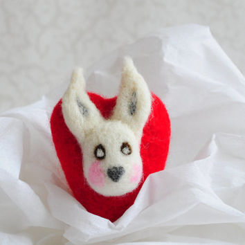 Needle Felted Heart - Bunny, Rabbit, Valentine's Day, Valentine Toy, Wool love romantic gift home decor