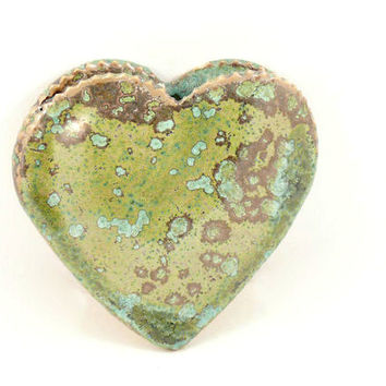 Handmade ceramic heart vase - wall art wall hanging  - IN STOCK lichen glaze - home decor - thank you birthday new job Wedding Collectible