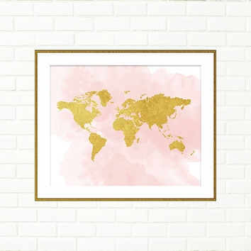 Printable World Map, Baby Girl Nursery Prints, Pink Gold nursery, Gold Print, Blush Pink Gold Wall art, Travel Nursery, Instant Download