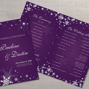 DIY Printable Wedding Program Template | Editable MS Word file | 8.5 x 11 | Instant Download | Winter White Snowflakes Dark Purple
