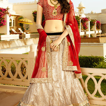 Red and Off White Net and Shimmer Heavy Embroidered Bridal Lehenga