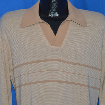 70s Jantzen Striped Polo Sweater Large