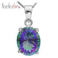 3.5ct Genuine Nature Rainbow Fire Mystic Topaz Pendant Oval Concave Cut Pure Solid 925 Sterling Silver Fashion For Women Alternative Measures