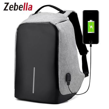"Zebella Men USB Charging Backpacks Anti- theft Male Travel Bags Black 15"" Business Laptop Bagpacks Mochilas School Bags"