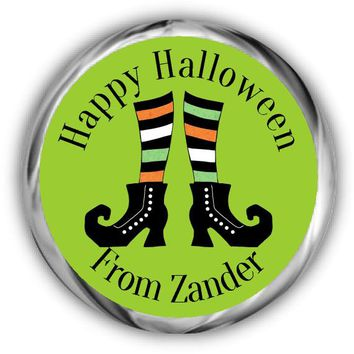 Witches Feet Personalized Halloween Hershey Kisses Stickers