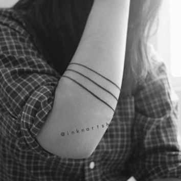 3pcs Minimal Line Simple Band arrow geometric tattoo - InknArt Temporary Tattoo Set -  gift tattoo collection quote wrist neck ankle body
