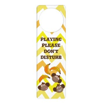 Cute Monkeys and bananas Door Hanger