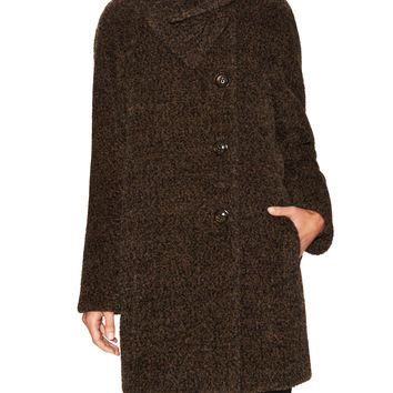 Cinzia Rocca Women's Wool Funnel Neck Mid-Length Coat - Brown -