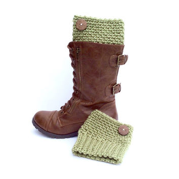 Army Green Warm Boot Cuffs with Decorative Wooden Button, Crochet Boot Cuffs