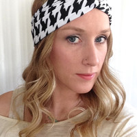 Houndstooth Turban headband - Baby Turban Headband - Houndstooth headband - Mommy and me turban  - Baby turban - Yoga Headband