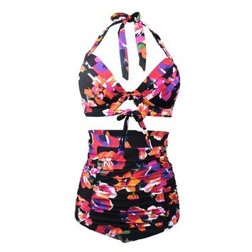 New US Size Plus Size 50s Retro Halter Bikinis set Floral Print Swimsuit Bathing Suit Women Vintage Ruched High Waisted Swimwear
