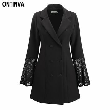 Women Plus Size Black Lace Long Blazer Office Lady V Neck Long Sleeve Double Breasted Slim Casual Jacket 2018 New Fashion Style